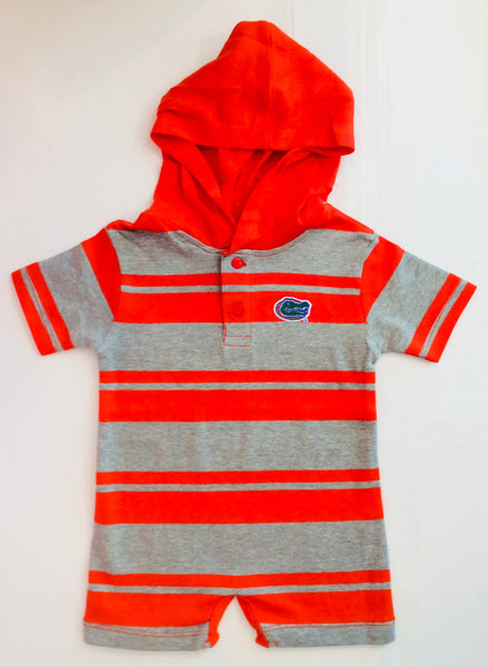 Two Feet Ahead Gator Hooded T Romper Orange and Heather Gray 254