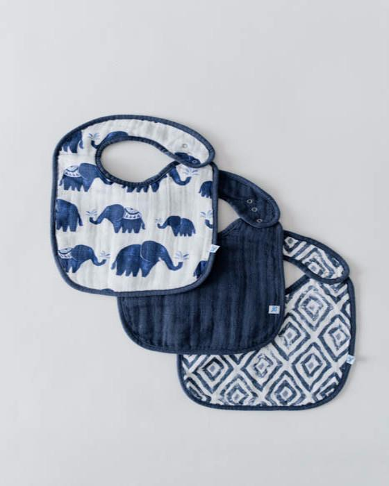 Little Unicorn Cotton Muslin Classic Bib - Indigo Set - Little Jill & Co.