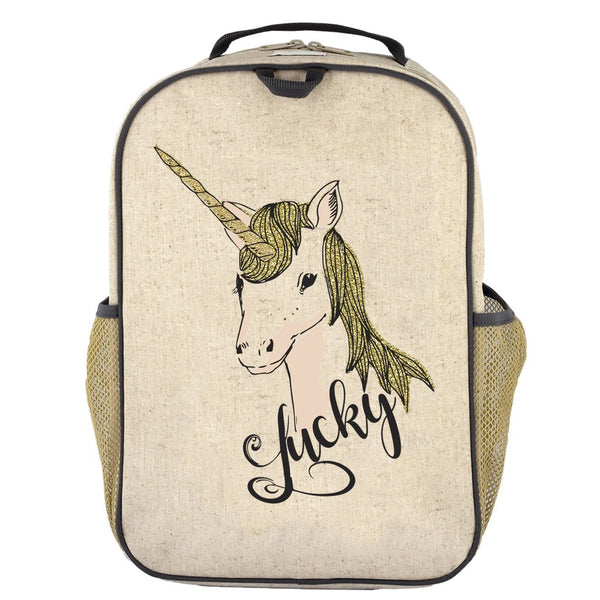So Young Raw Linen Lucky Unicorn Grade School Backpack