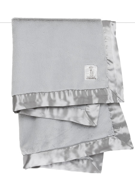 Little Giraffe Luxe Solid Blanket in Silver - Little Jill & Co.