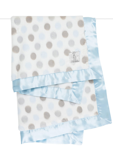 Little Giraffe Luxe Dot Blanket in Blue - Little Jill & Co.