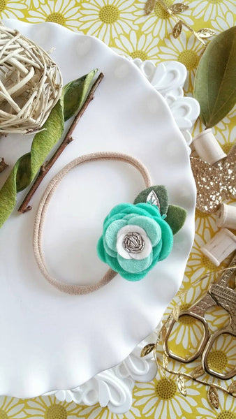 Dainty Single Flower Headband in Mint - Little Jill & Co.