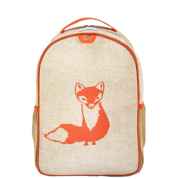 So Young Raw Linen Orange Fox Toddler Backpack