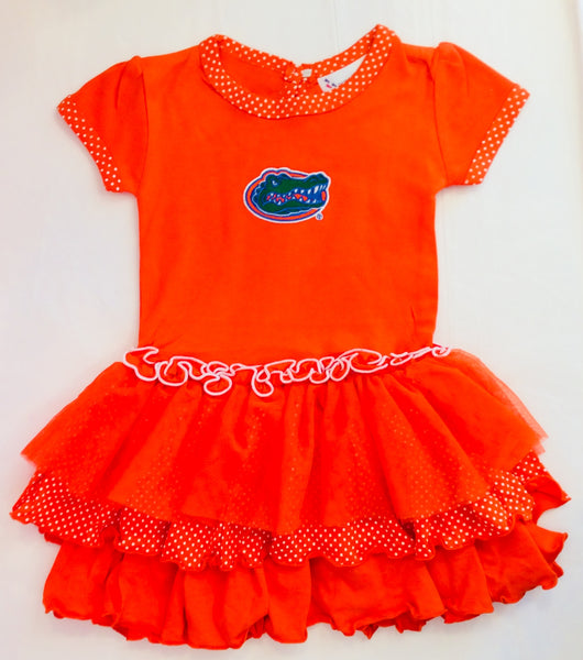 Two Feet Ahead Gator Pin Dot Tutu Dress Orange 258