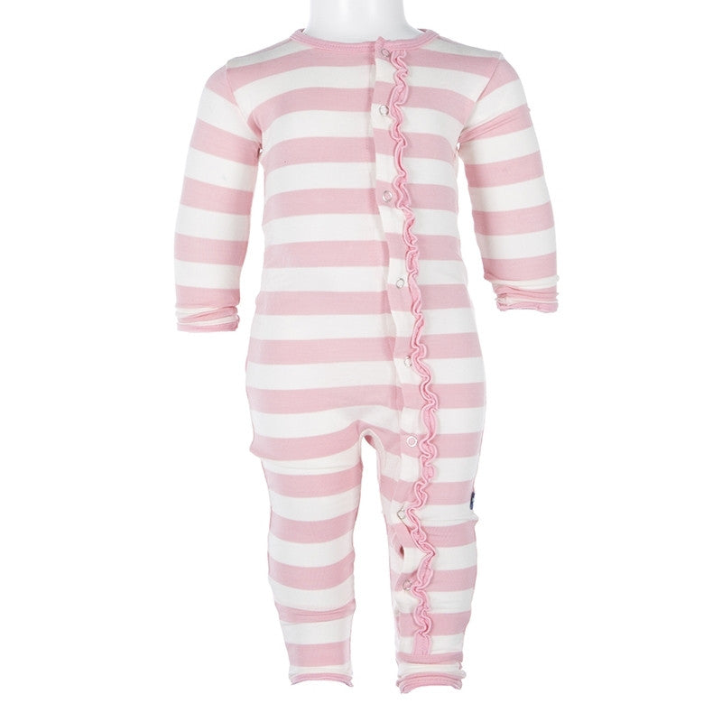 Kickee Pants Essentials Print Classic Ruffle Coverall Lotus Stripe - Little Jill & Co.