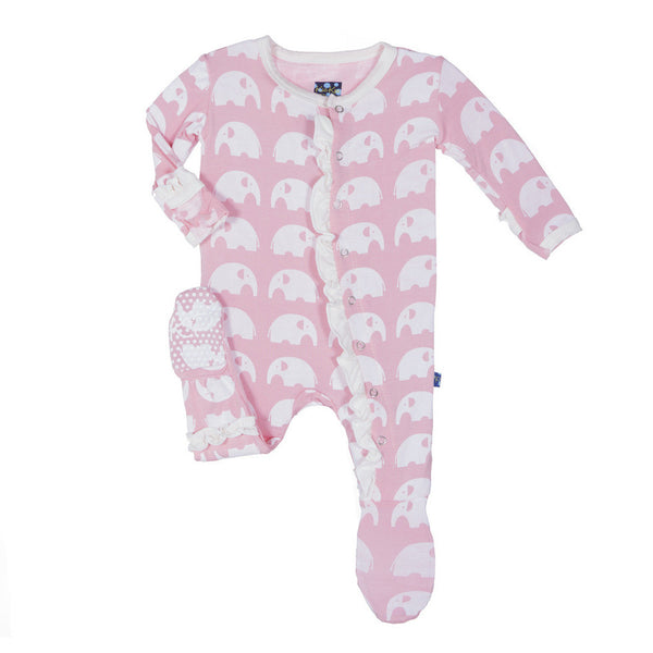 Kickee Pants Essentials Print Classic Ruffle Footie Lotus Elephant - Little Jill & Co.
