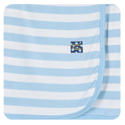 Kickee Pants Essentials Swaddling Blanket Pond Stripe - Little Jill & Co.