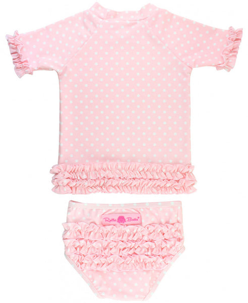 Ruffle Butts Pink Polka Dot Ruffled Rash Guard Bikini Set