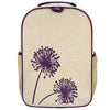 So Young Raw Linen Purple Dandelion Grade School Backpack
