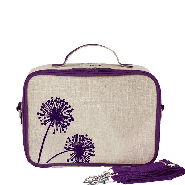 So Young Raw Linen Purple Dandelion Lunch Box