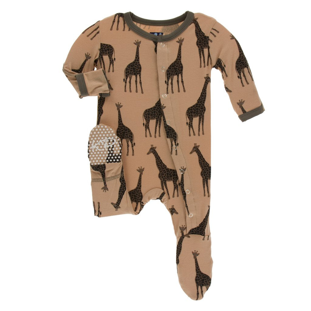 Kickee Pants Print Footie with Snaps Suede Giraffes - Little Jill & Co.