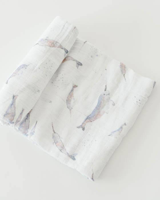 Little Unicorn Cotton Muslin Swaddle Single - Narwhal