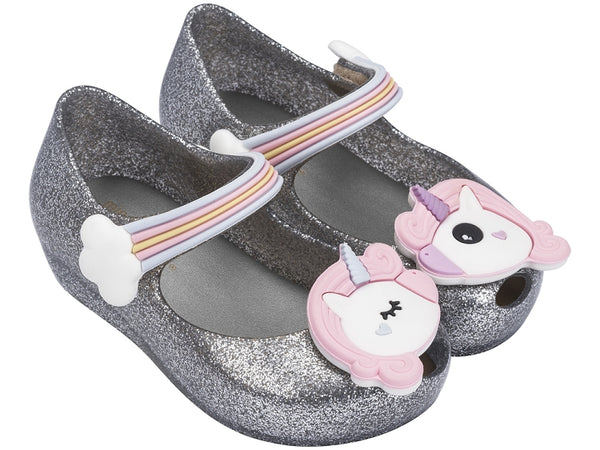 Mini Melissa Ultra Girl Unicorn in Silver Glitz