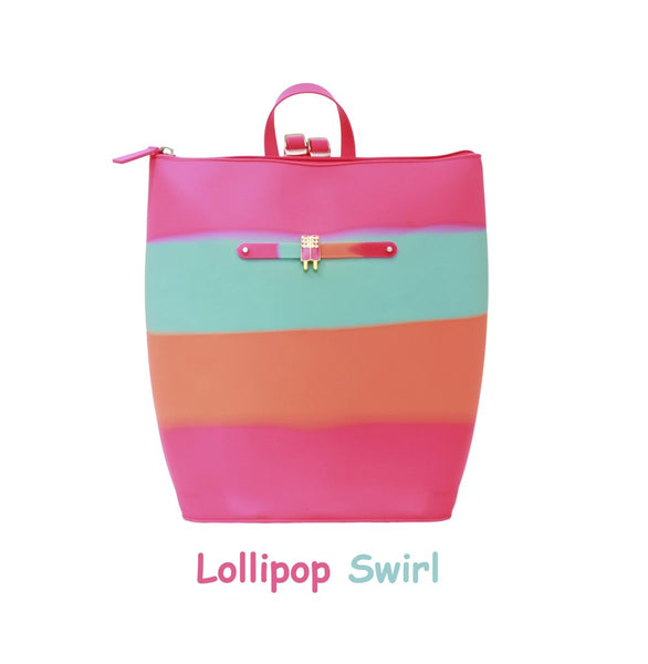 Yummy Gummy SCENTED Zipper Bucket Bag in Lollipop Swirl (Orange Sherbet Scent)