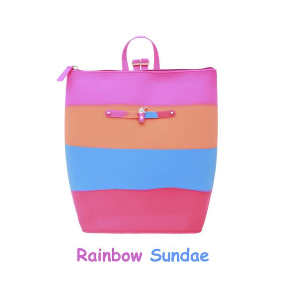 Yummy Gummy SCENTED Zipper Bucket Bag in Rainbow Sundae (Orange Sherbet Scent)