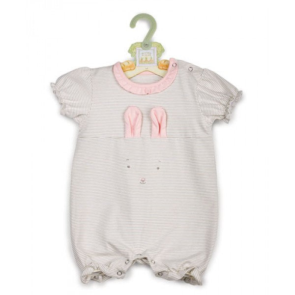 Bunnies By The Bay Blossom Romper in Gray & Pink - Little Jill & Co.