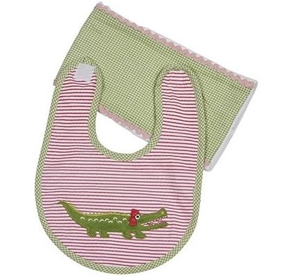 Maison Chic Gabby the Gator Boxed Bib & Burp Cloth Gift Set