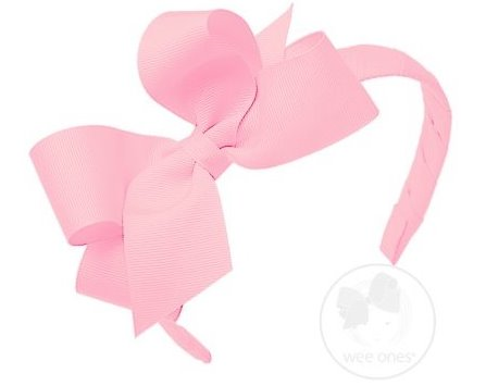 Wee Ones Medium Classic Grosgrain Bow on Matching Headband(Multiple Colors)