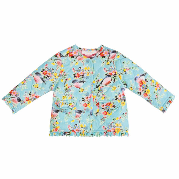 Paper Wings Frilled Quilted Jacket in Vintage Flowers
