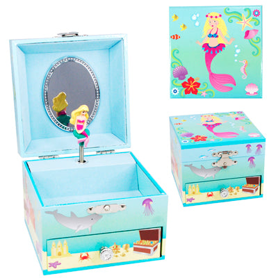 Pink Poppy Summer Mermaid Small Music Box
