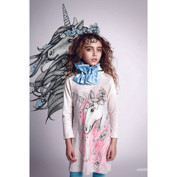 Paper Wings Frilled Shift Dress in Winter Unicorn