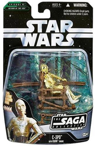 "C-3PO with Ewok Throne SAGA Collection 3.75"" New"
