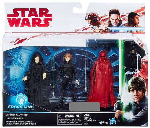 Emperor Palpatine Luke Skywalker Emperor's Royal Guard 3 Pack Star Wars Force Link 3.75""