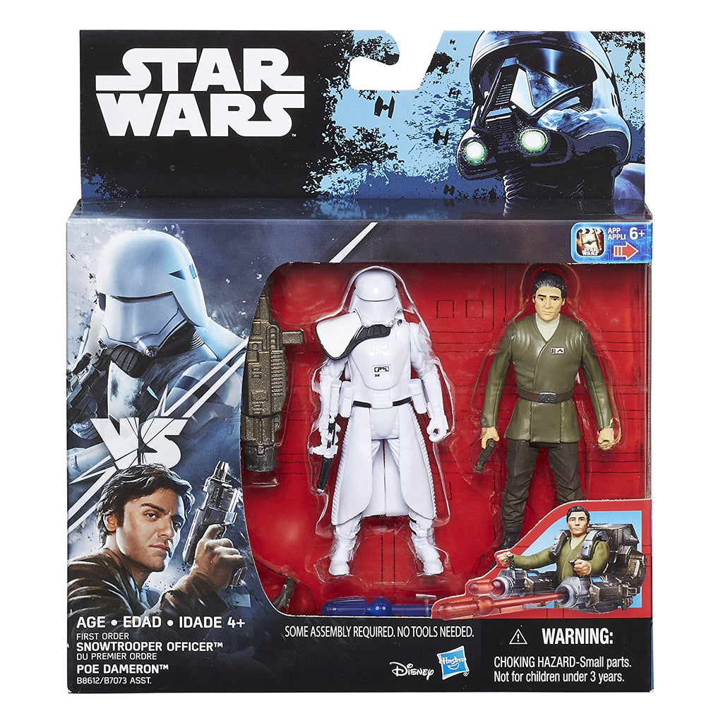 First Order Snowtrooper vs Poe Dameron Deluxe Pack Star Wars 3.75""