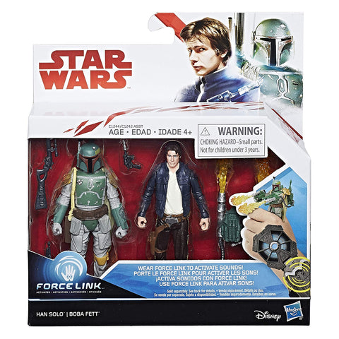 Han Solo Boba Fett 2 Pack Star Wars Force Link 3.75""