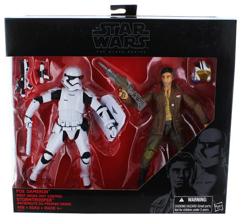 Poe Dameron and Riot Trooper Deluxe Star Wars Black Series 6""