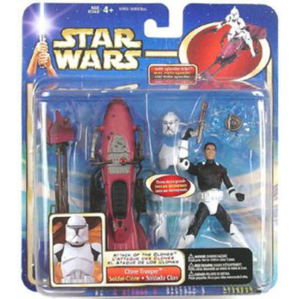 Deluxe Clone Trooper with Speeder Bike Star Wars Attack of the Clones 3.75""