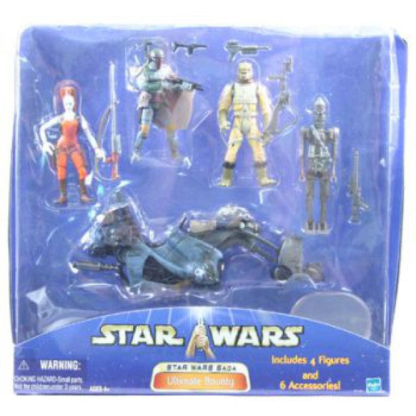 Star Wars Saga Ultimate Bounty Set Aurra Sing, Boba Fett, Bossk, IG-88, Speeder