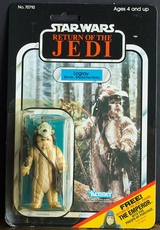 Vintage Star Wars Logray Ewok Carded 65-back Kenner carded sealed (C8)