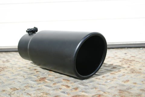 "4 1/2"" BLACK ROLLED END EXHAUST TIP - Flowrite Exhaust Systems"