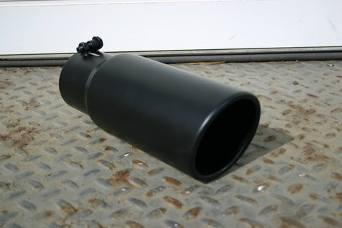 "5"" ROLLED END BLACK DIESEL TIP - Flowrite Exhaust Systems"