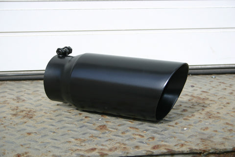 "5"" BLACK ANGLE CUT EXHAUST TIP - Flowrite Exhaust Systems"