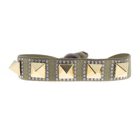 Pyramid Bracelet - Medium Khaki & Yellow Gold