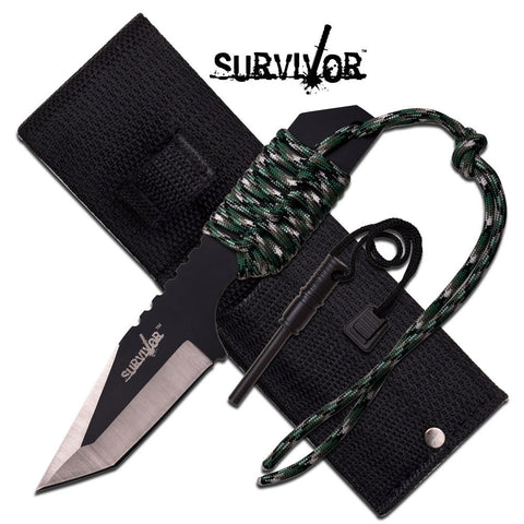 Military Survival Knife w/ Fire Starter