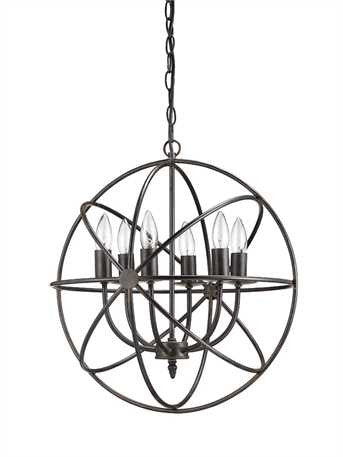 Round Metal Chandelier w/ 6 Lights