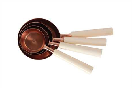 Stainless Steel & Resin Measuring Cups, Copper Finish