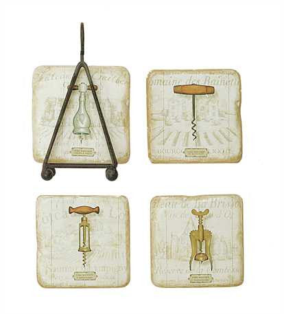 "4"" Square Resin Coasters w/ Cork Screw Image & Metal Stand"