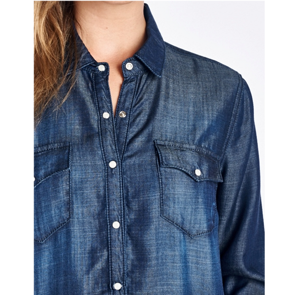 Dark Denim Shirt With Snap Button Up