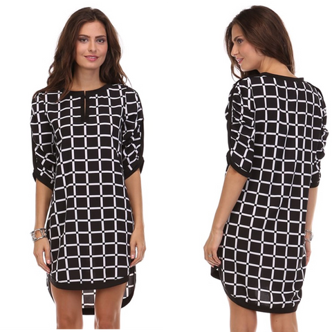 Black White Composition Dress
