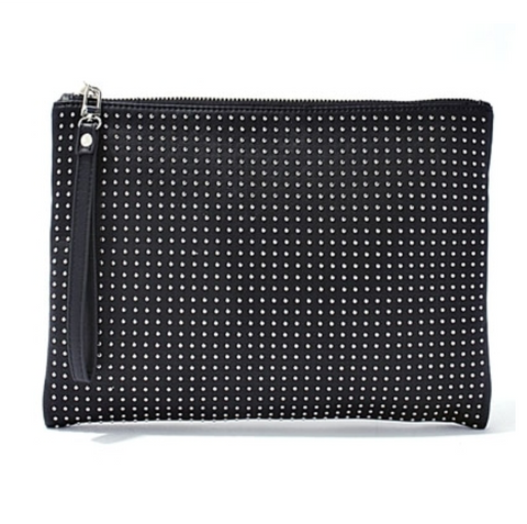 Vegan Leather Wristlet Clutch With Studs