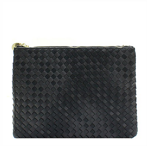 Black Vegan Leather Woven Clutch