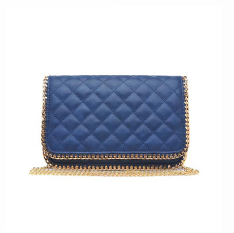 Litia Dark Navy Quilted Clutch