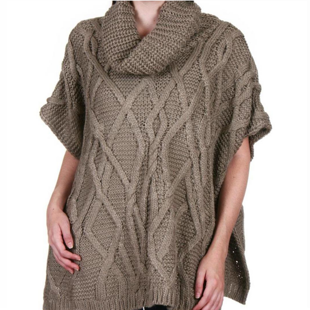 Rope Cable Knit Poncho