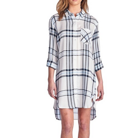Rolled Long Sleeve Hi/Lo PLaid Tencil Dress