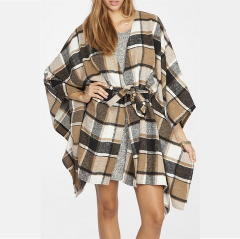 Plaid Flannel Cape With Tie