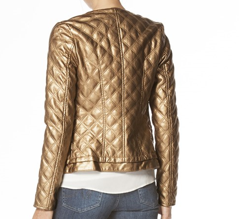 Vegan Leather Jacket with Quilted Design